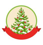 Christmas Winter Label Icon with Decoration Evergreen Tree Isola - stock illustration