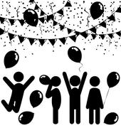 Flat celebration icons with air balloons, confetti and buntings Stock Illustration