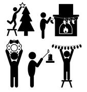 Set of Christmas Decoration Home Flat Black Pictograms People Ic - stock illustration