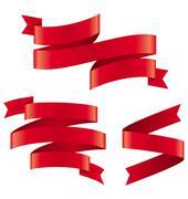 Celebration Curved Ribbons Variations Isolated on White - stock illustration