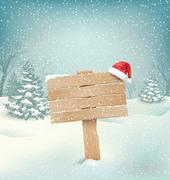 Winter Background with Wooden Signpost and Santa Hat Stock Illustration