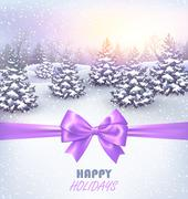 Winter Landscape Background with Christmas Trees and Bow - stock illustration