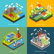 Environment Pollution and Protection - stock illustration
