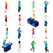 Dancing People Isometric - stock illustration