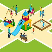 Isometric Kids Playground Stock Illustration