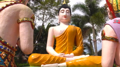 Buddha statue preach Stock Footage