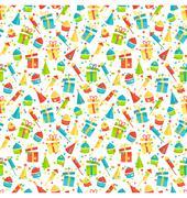 Seamless bright fun celebration festive pattern isolated on whit - stock illustration