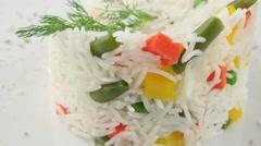 Basmati rice with vegetables (loop) Stock Footage