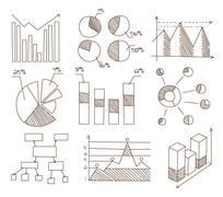 Graphs, Charts and Diagrams. Hand Drawn Business Icons Set Piirros