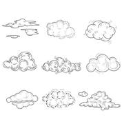 Hand Drawn Cloud Set. Vector Illustration Stock Illustration