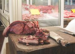 Meat in the market Stock Photos