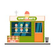 Winter Hats Store Front Vector Illustration - stock illustration