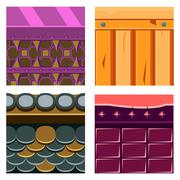 Stock Illustration of Textures for Platformers Icons Vector Set with Wood Boards and Scale
