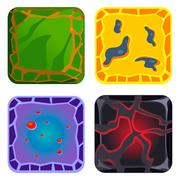 Stock Illustration of Different Materials and Textures for Game. Green, Yellow, Blue, Black Gems