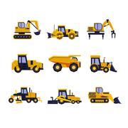 Construction Equipment Road Roller, Excavator, Bulldozer and Tractor. Car Flat - stock illustration