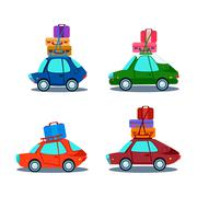 Car Side View With Heap Of Luggage - stock illustration