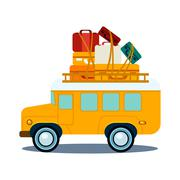 Stock Illustration of Bus Side View With Heap Of Luggage Vector Illustration