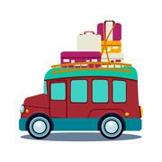 Bus Side View With Heap Of Luggage Vector Illustration - stock illustration