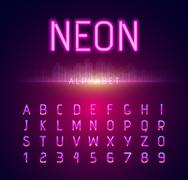 Neon Alphabet Font Style Flat Design Piirros