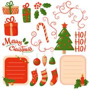 Stock Illustration of Christmas scrapbook elements. Vector