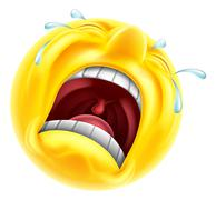 Really sad upset emoticon - stock illustration