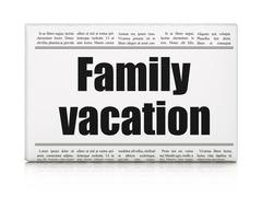 Vacation concept: newspaper headline Family Vacation Stock Illustration