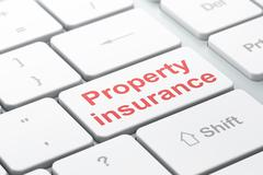 Stock Illustration of Insurance concept: Property Insurance on computer keyboard background