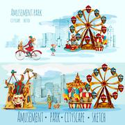 Amusement Park Cityscape - stock illustration