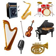 Musical Instruments Set - stock illustration