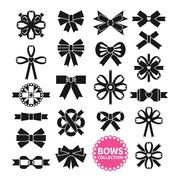 Black Bows Set - stock illustration