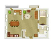 Interior Top View - stock illustration