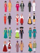 Set of National Costumes Design Stock Illustration