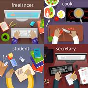 Stock Illustration of Student Freelancer, Cook and Secretary