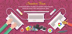 Stock Illustration of Creative Team Design Flat Style