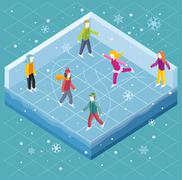 Ice Rink with People Isometric Style Stock Illustration