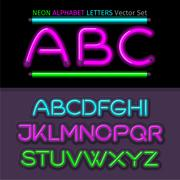 Stock Illustration of Neon Alphabet Font Style Flat Design