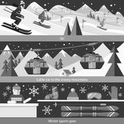 Concept Skiing Winter Sport Flat Style Stock Illustration