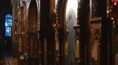 Senior Ladies Bow Cross Themselves Holy Trinity Monastery Kiev Ukraine - stock footage