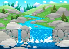 Stock Illustration of Mountain landscape with river.