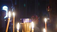 Silhouettes Holy Trinity Jonah's Monastery Mary's Dormition Day Kiev Worshipers - stock footage
