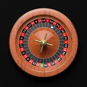 Roulette wheel on black background.From above - stock illustration