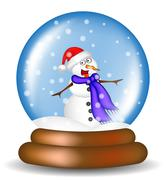 Christmas snowglobe with snowman cartoon design, icon, symbol for card. Winte Stock Illustration