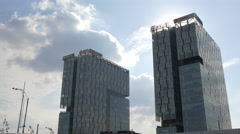 Stock Video Footage of The two skyscrapers of Free Press Square in Bucharest
