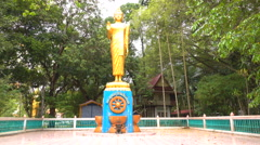 Buddha statue Pang ban parasite beautiful golden Stock Footage