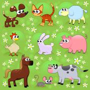 Farm animals. - stock illustration