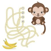 Maze Game for Preschool Children with Monkey and Banana - stock illustration