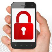 Stock Illustration of Privacy concept: Hand Holding Smartphone with Closed Padlock on display