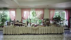 Buffet table in the banquet hall Stock Footage