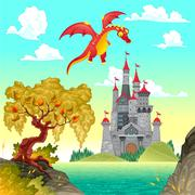 Stock Illustration of Fantasy landscape with castle and dragon.