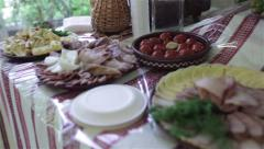 Holiday table with refreshments. - stock footage